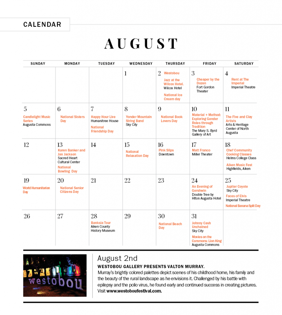 August/September 2018 Calendar of Events - Augusta Magazine