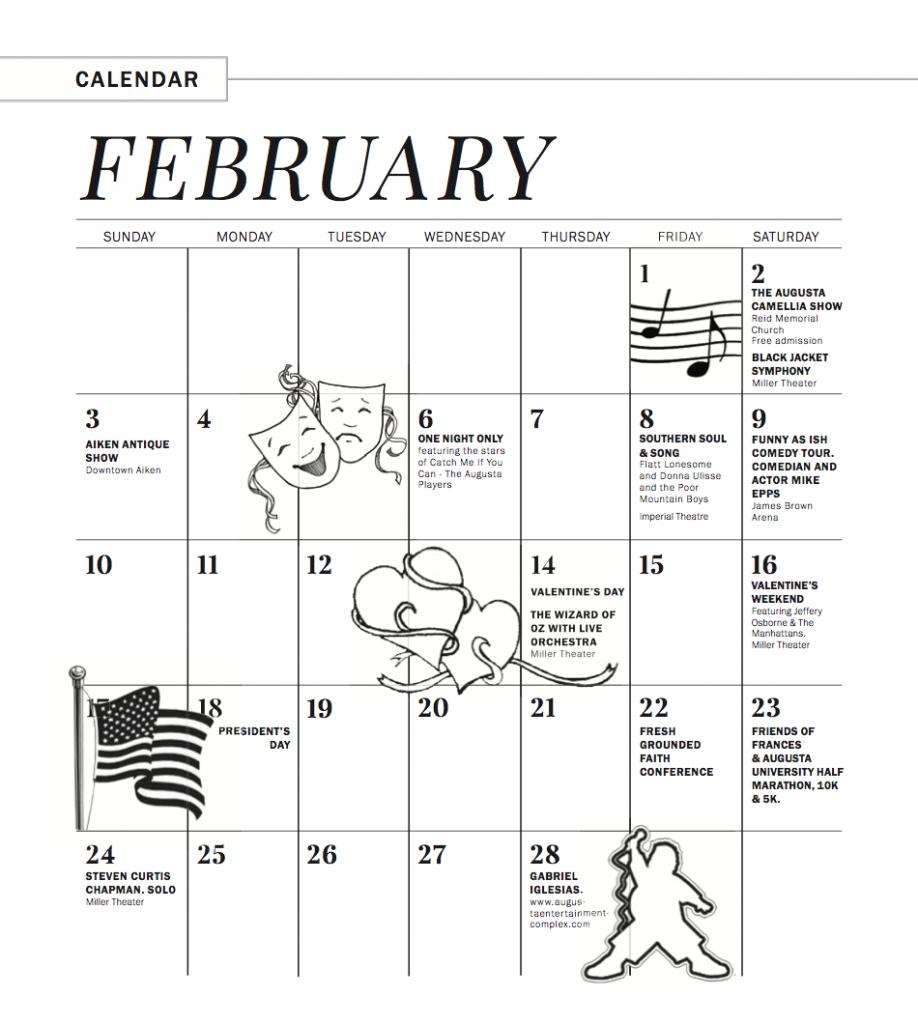 Feb Calendar 2019.February March 2019 Calendar Of Events Augusta Magazine