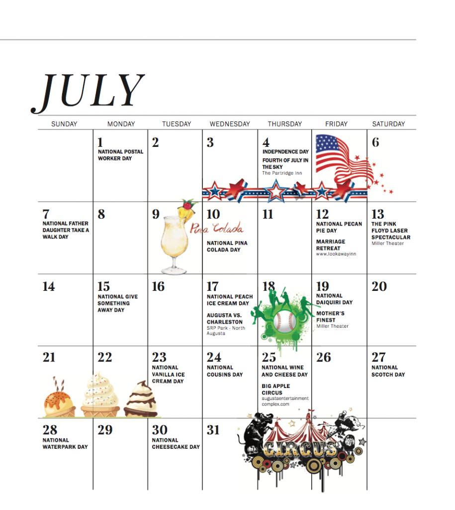 June July 2019 Calendar Of Events Augusta Magazine